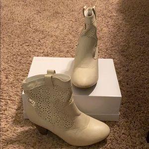 White / Tan Rue21 booties